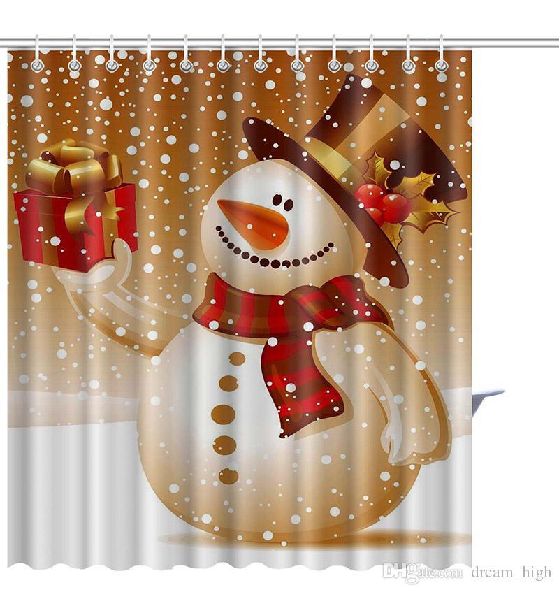 150 * 180 CM Noel Kardan Adam Duş Perdesi Su Geçirmez 3D Baskılı Banyo Duş Perdesi Hooks Santa Dekor Ev Için Yeni Yıl 21 Tarzı