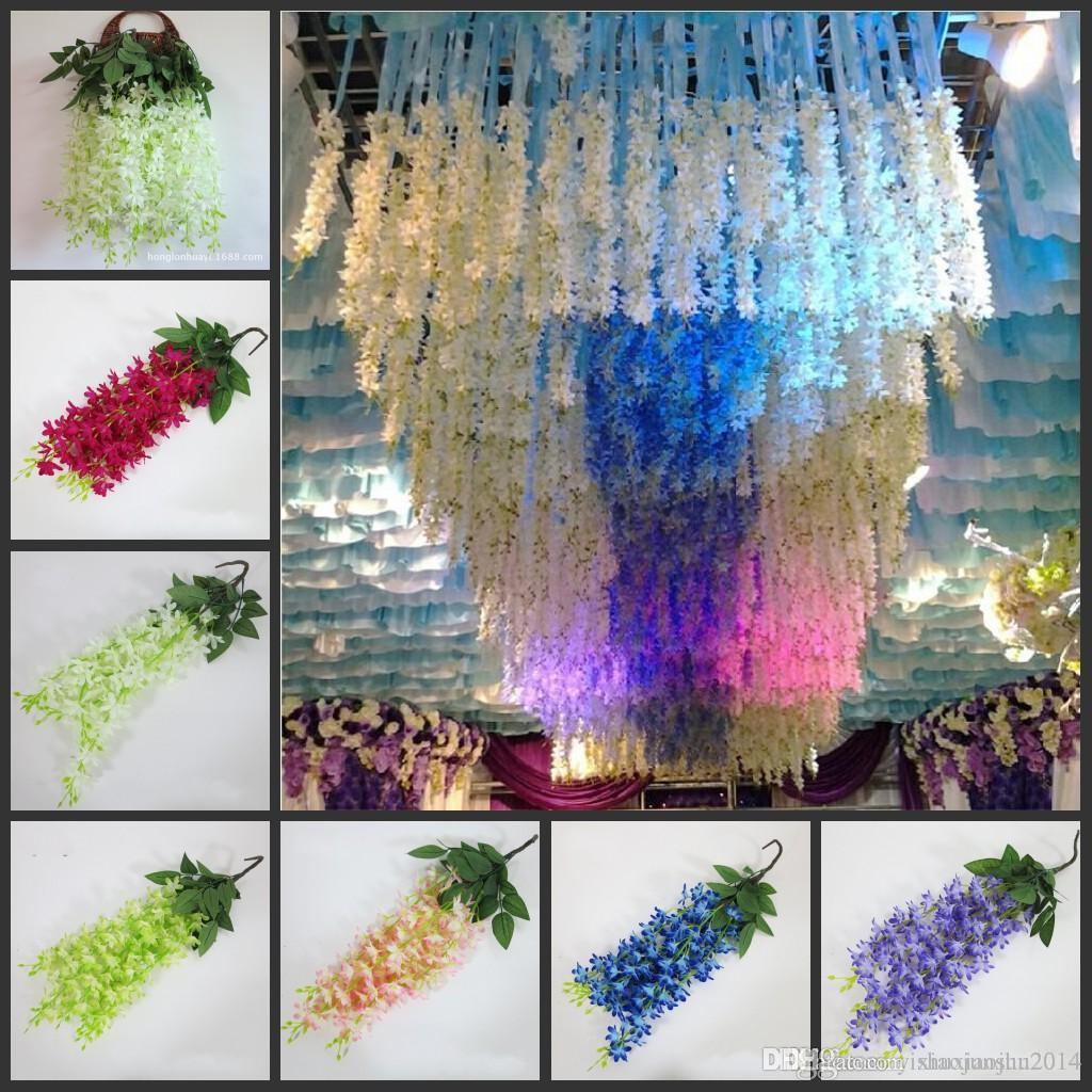 Online Cheap Romantic Wedding Decoration Garland Artificial Wisteria