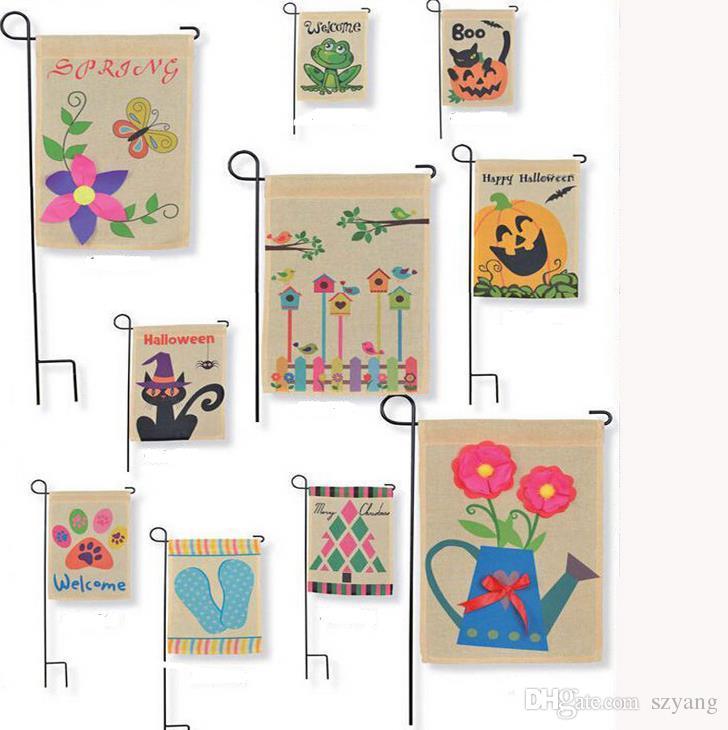 Drapeaux de jardin en toile de jute bricolage 4Styles 12