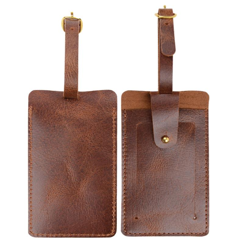 100% Genuine Leather Luggage Tags with Business Card ID Tags Cowhide ...