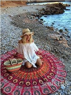 Mandala Plaj Havlusu Yuvarlak Beach Blanket Polyester Baskılı Masa Örtüsü Bohemian Goblen Yoga Minderi Plaj Şal Wrap Piknik Kilim HH-C44 Kapaklar