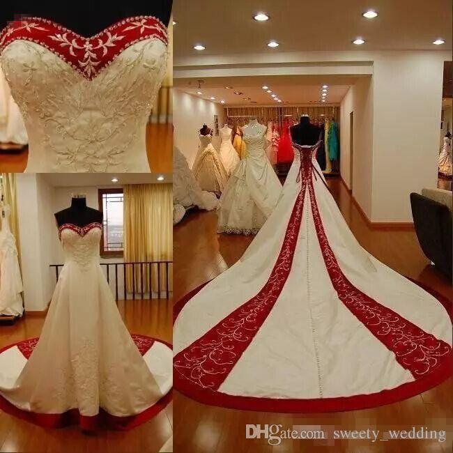 Weiße und rote Stickerei Hochzeitskleider 2019 plus size Schatz traditionelle Garten Land Brautkleider Vintage Custom Made Korsett