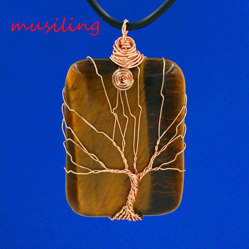 Pendant Pendulum Jewelry Natural Gem Stone Rose Quartz etc Rose Gold Plated Mascot Life Tree Rectangle Reiki Charms Amulet Men Jewelry