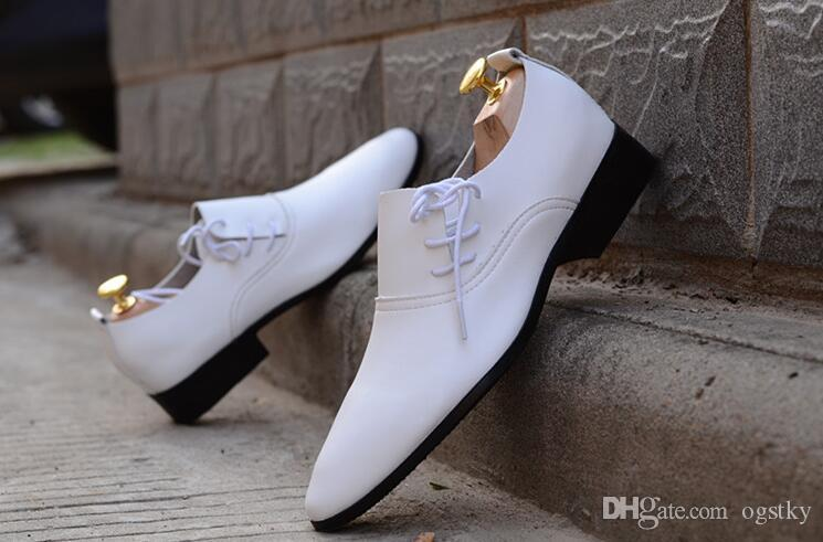 New Men'S Pointed White Wedding Groom Shoes Business Casual Dress ...