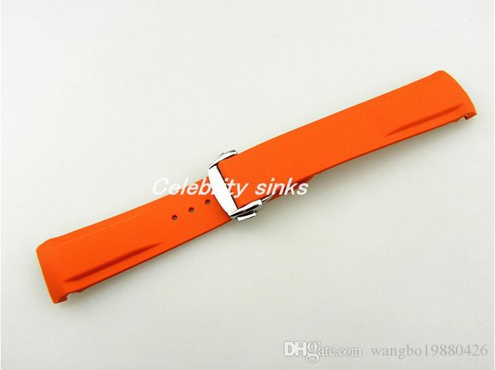 20mm Buckle 18mm NEW TOP GRADE Orange Waterproof Diving Silicone Rubber Watchband Straps with Silver buckle For Omega Watch