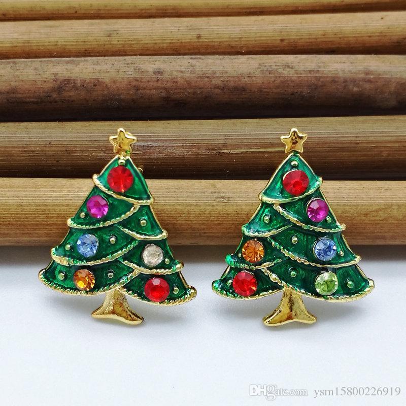 New Year Series Metalltropfen Bohrer Weihnachtsbaum Ohrringe 24 * 19 MM Schmuck Geschenke Weihnachten Dekorative Ohrringe