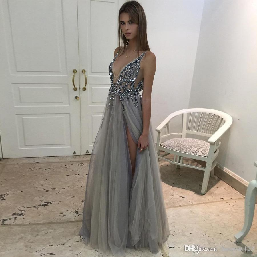 bf0c6c43de Sexy Side Split Evening Dresses 2017 Deep V Neck Backless Bead Crystal  Party Gowns Sleeveless Sweep Train Cheap Tulle Prom Dress Sexy Cheap Dresses  ...