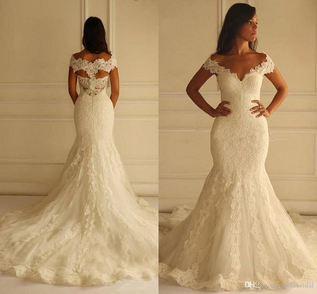 Ivory Mermaid Wedding Dresses 2017 Vestido De Noiva Lace Elegant ...