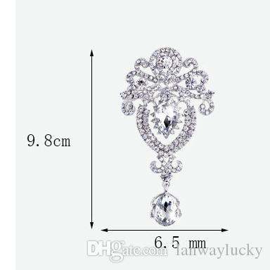 DHL Free Fashion Jewelry Water Drop Alloy Clear Glass Flower Crystal Rhinestone Brooches Pin Bouquet Bridal Flower Wedding Gift For Women