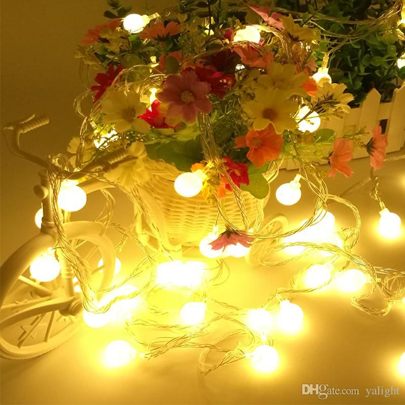 novelty outdoor lighting 10m 50leds led ball string lamps christmas lights with end plug wedding garden pendant garland 220110v led string led christmas