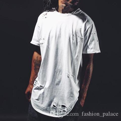 New Men Ripped Destroyed T Shirt Personalized Kanye West Hip Hop Tee Short  Sleeve Cotton Long T Shirt CAMISA DE HOMBRE S 2XL MJG0311 Canada 2019 From  ... 9d475a7a8