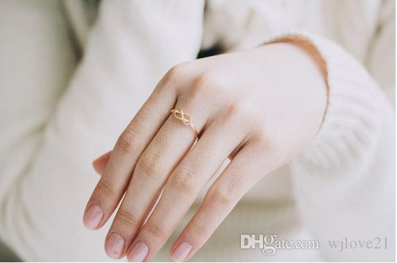 The new gold-plated silver plating rose gold jewelry fashion jewelry loose knot ring Anillos women Midi ring more than women of the eternal