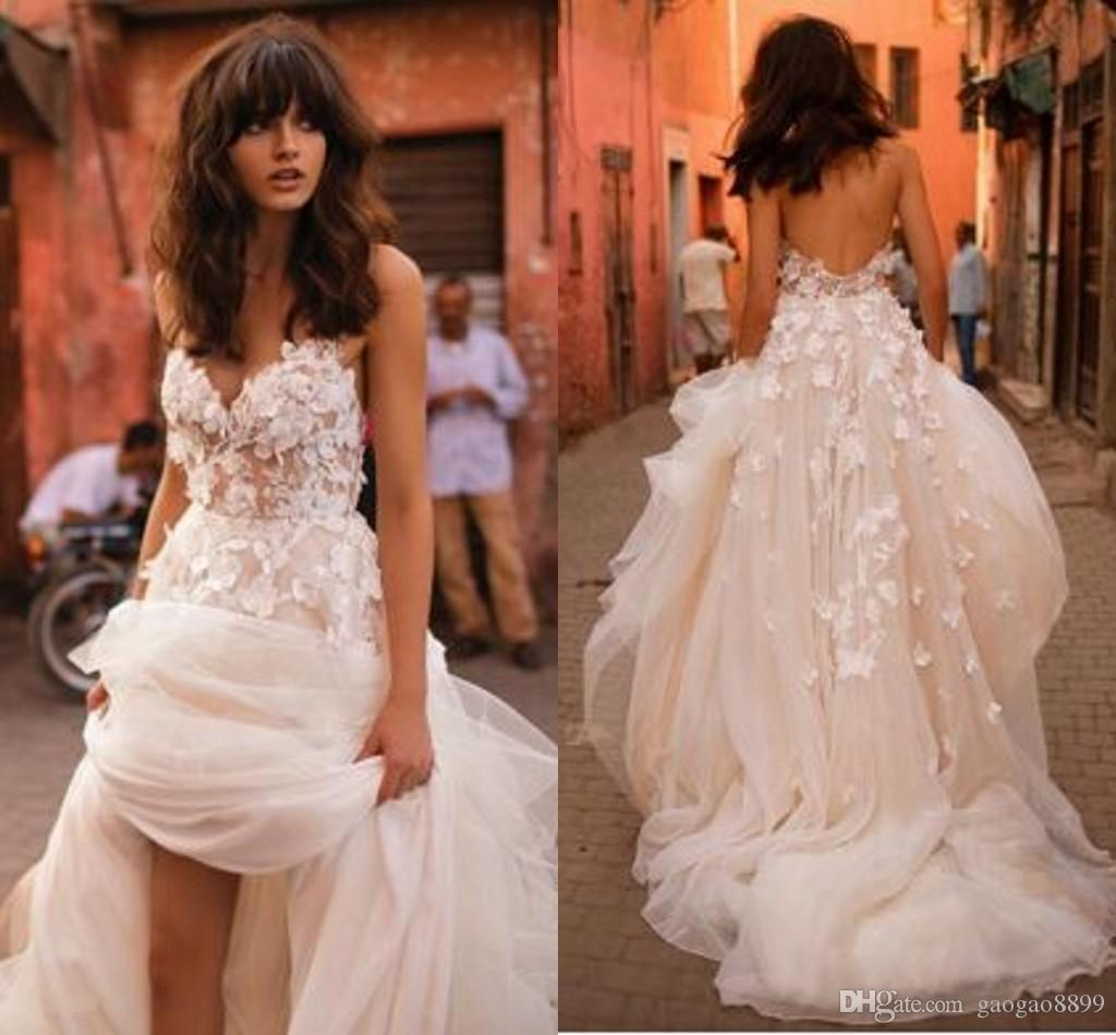 Discount Liz Martinez Beach Wedding Dresses 2017 3d Floral V Neck Tiered Skirt Backless Plus Size Elegant Garden Country Toddler Gowns Expensive: Expensive Wedding Dresses Online At Websimilar.org