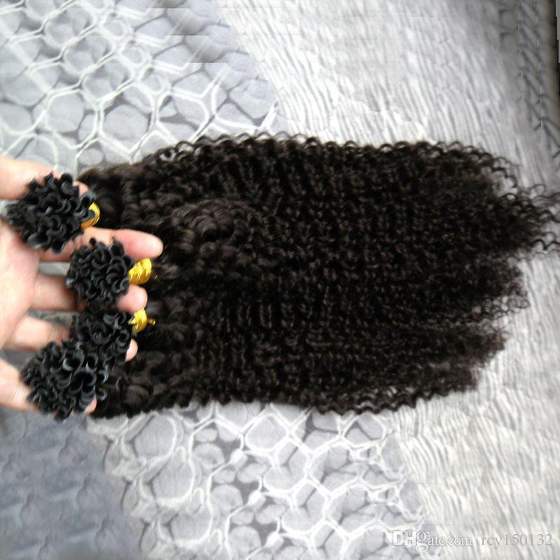 المنغولية غريب مجعد الشعر 200 جرام فيوجن الإنسان الشعر مسمار يو تلميح 100٪ ريمي الإنسان الشعر 200 ثانية الأفرو غريب مجعد الكيراتين عصا تلميح