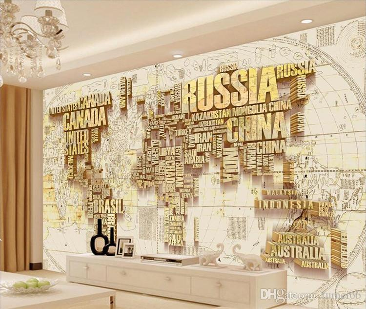 3D Custom Gold World Map Wallpaper Murals For TV