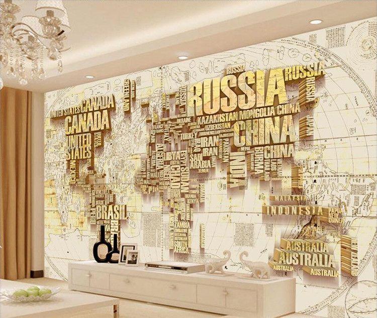 3D пользовательские золото карта мира обои настенные росписи для ТВ фон трехмерный черный письмо большой Фото фреска карта мира