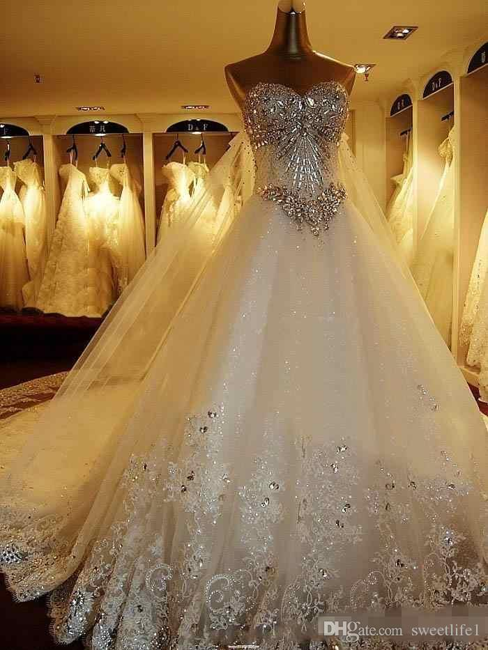 Luxury Crystals Wedding Dresses Lace Backless Bridal Ball Gown 2020 A Line Bride Dress Sweetheart Plus Size Appliques Beaded Garden