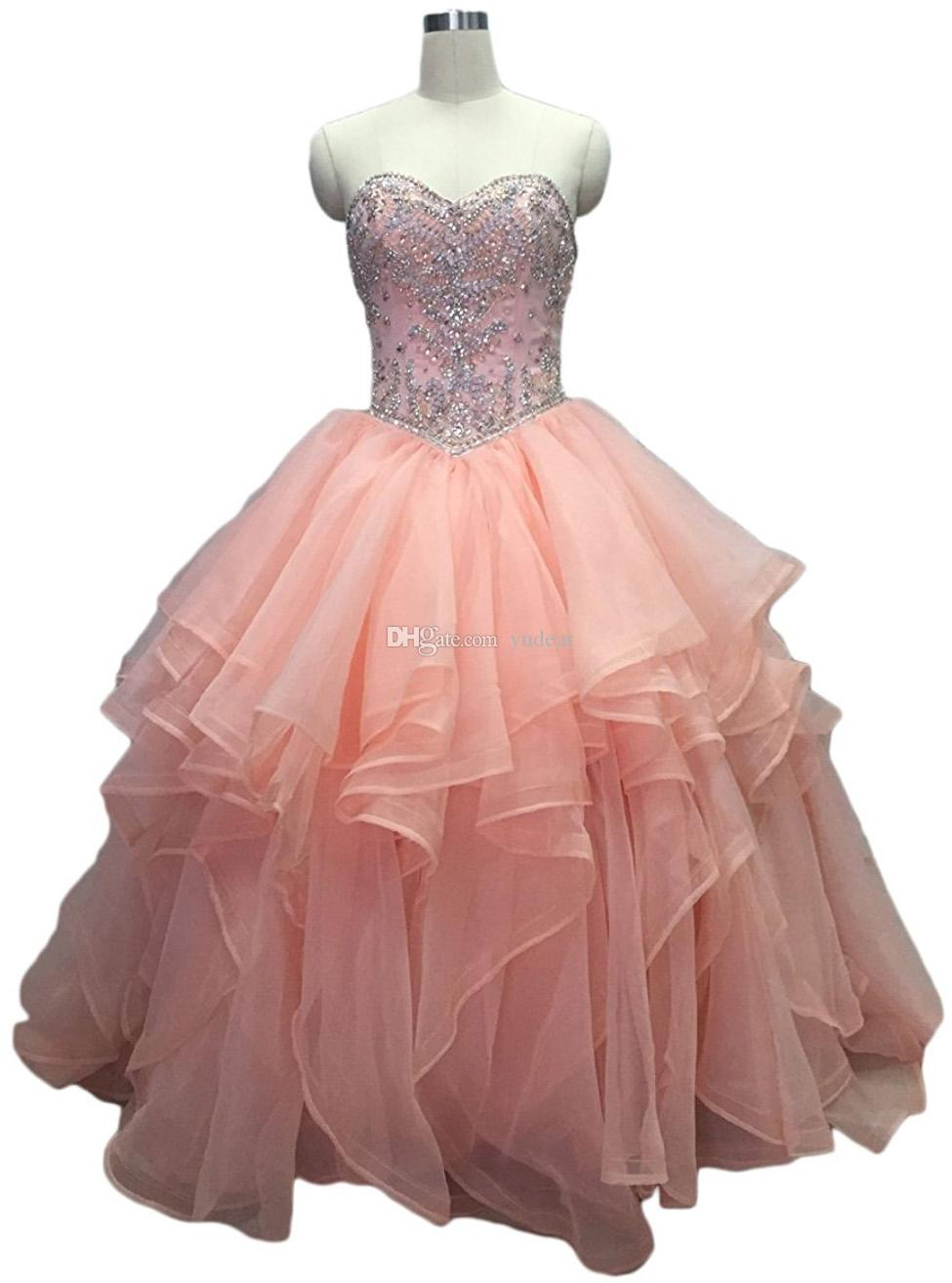 New Design 2018 Sweetheart Women Prom Dresses Sleeveless Ball Gown  Quinceanera Dresses Charming Tulle Ruffles Lace Up Chic Vestido De Fiesta  Beautiful Prom ... a0d4d127dbf2