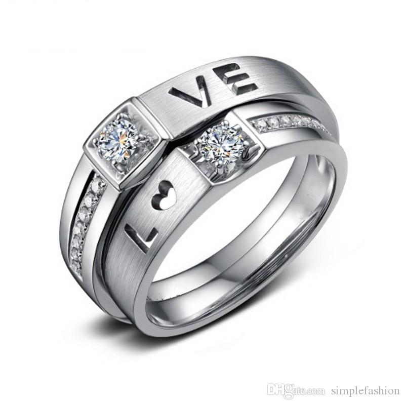 Vecalon العلامة التجارية عشاق المجوهرات 925 خاتم فضة 1 قيراط مقلد الماس تشيكوسلوفاكيا الاشتباك خواتم الزفاف الفرقة للرجال النساء