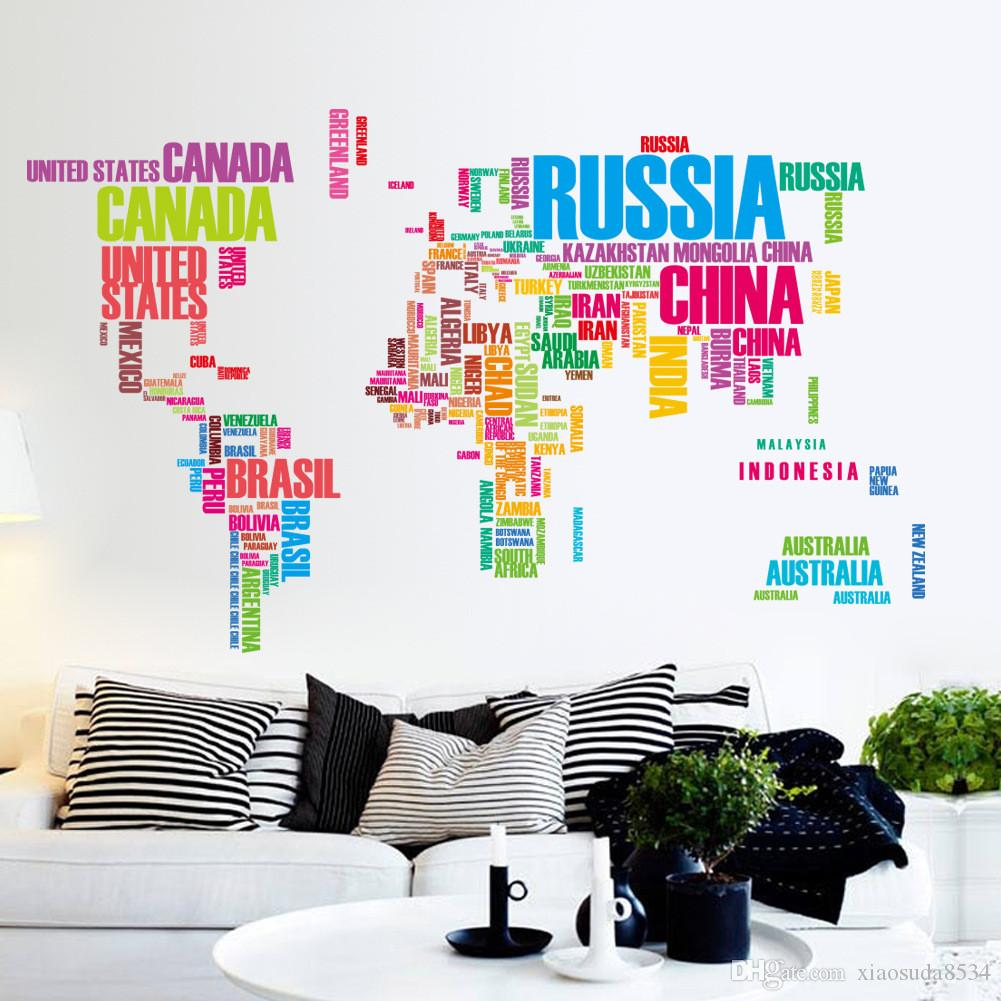 Fashion Style Colorful Country Name World Map Wall Decor Sticker