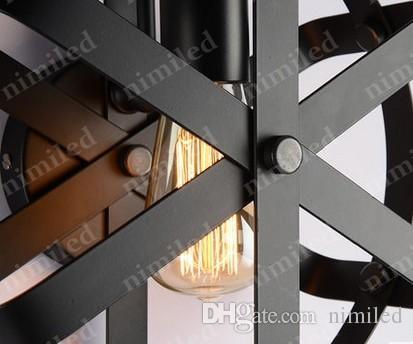nimi814 Dia 30cm 레트로 빈티지 미국 국가 단 철관 램프 LOFT 산업용 침실 발코니 통로 조명 카페 바 조명