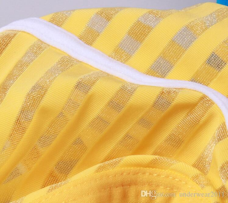 # 4006SJ 무료 배송 도매 브랜드 Wangjiang 브랜드 남성 속옷 줄무늬 거즈 섹시한 팬티 실키 반투명 얇은 팬티 팬티 cuecas