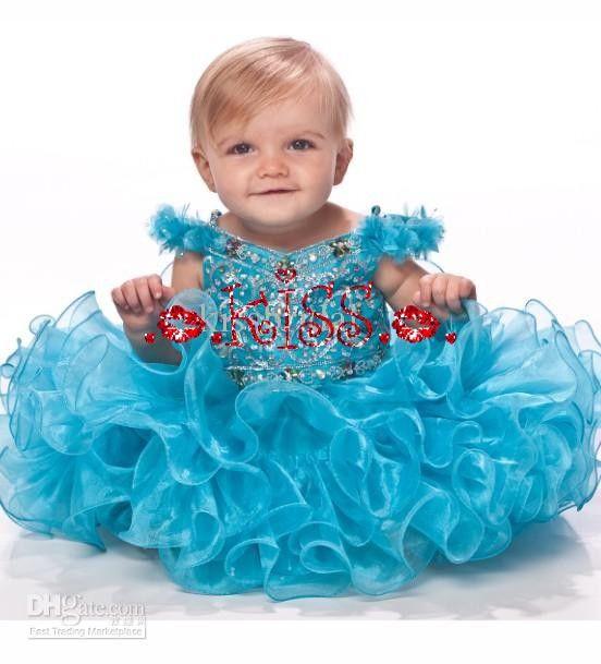Hot Selling Infant Flower Girl Dress V-neck Straps Sequin Layered Rhinestone Organza Girl 's Pageant Dresses Organza Girls' Pageant Gown