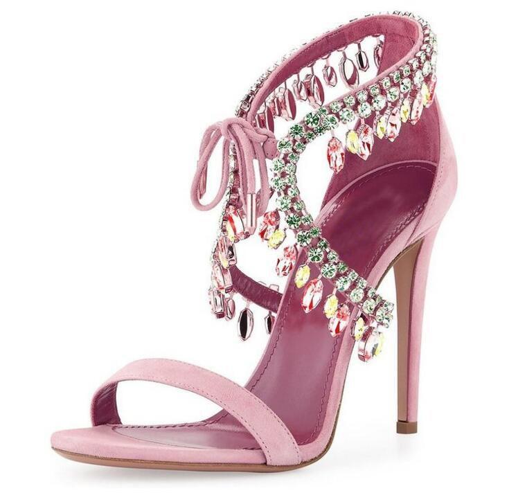 2016 mode Kristall Strass Hochzeit Brautschuhe Nach Maß Plus Größe Sommer Stil Sandalen Schnüren Hohe Dünne Fersen Sandalen Schuhe Sexy
