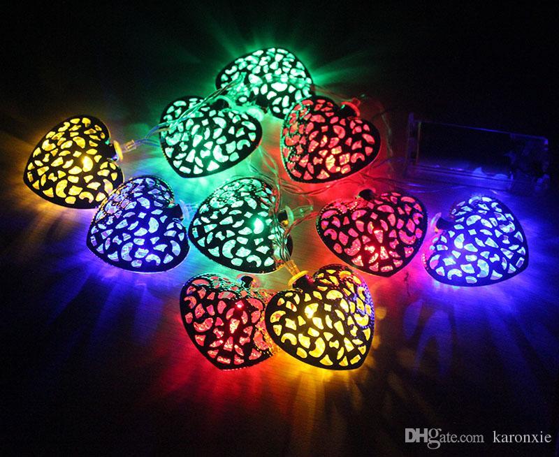 lotto multi colore a batteria metallo palla LED stringhe metallo cuore RGB albero di natale luci fata la decorazione