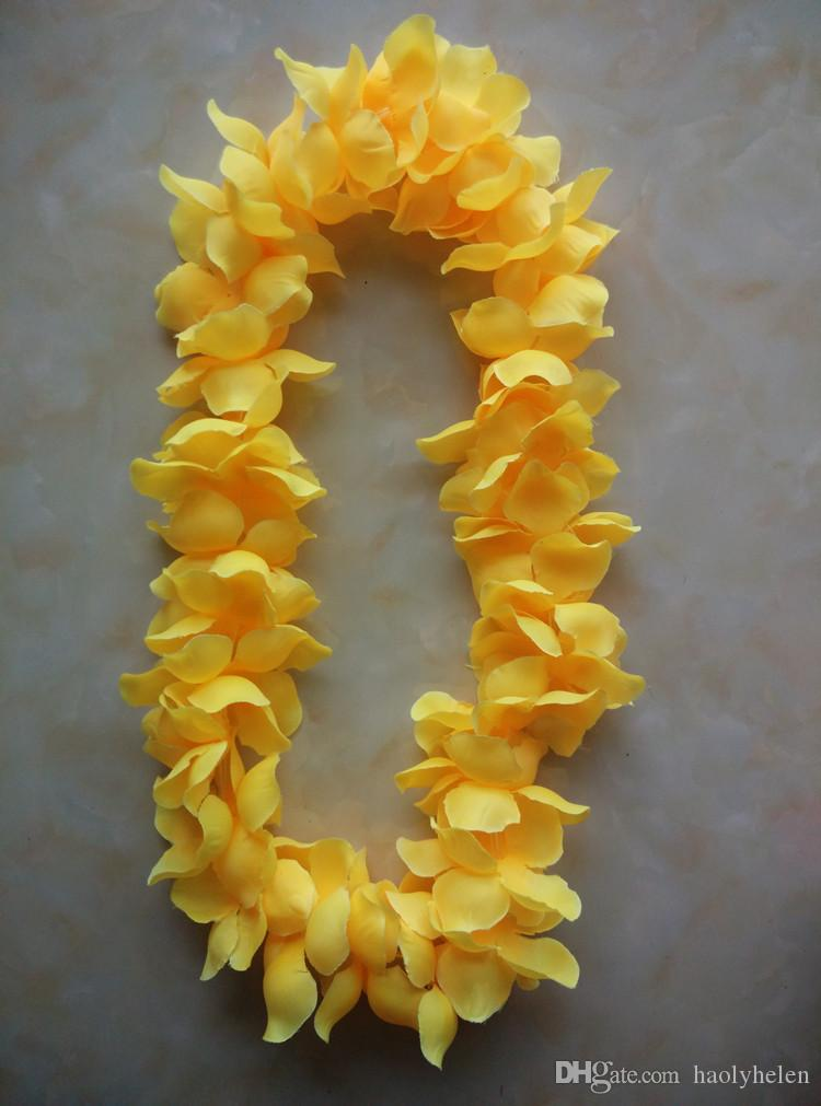 50 peças Kauai Leis Hawaii Flor Lei 7 Cor Luau Flor Colar Garland Hula-desgaste Dança Dança Show Festa Decoração Frete Grátis