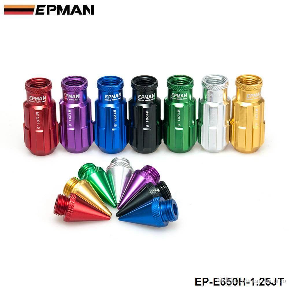 Segui da dadi di bloccaggio in alluminio da corsa Epman con punte con punte 12x1,25 W / Key Universal Fit Honda Civic Toyota EP-E650H-1.25Jt