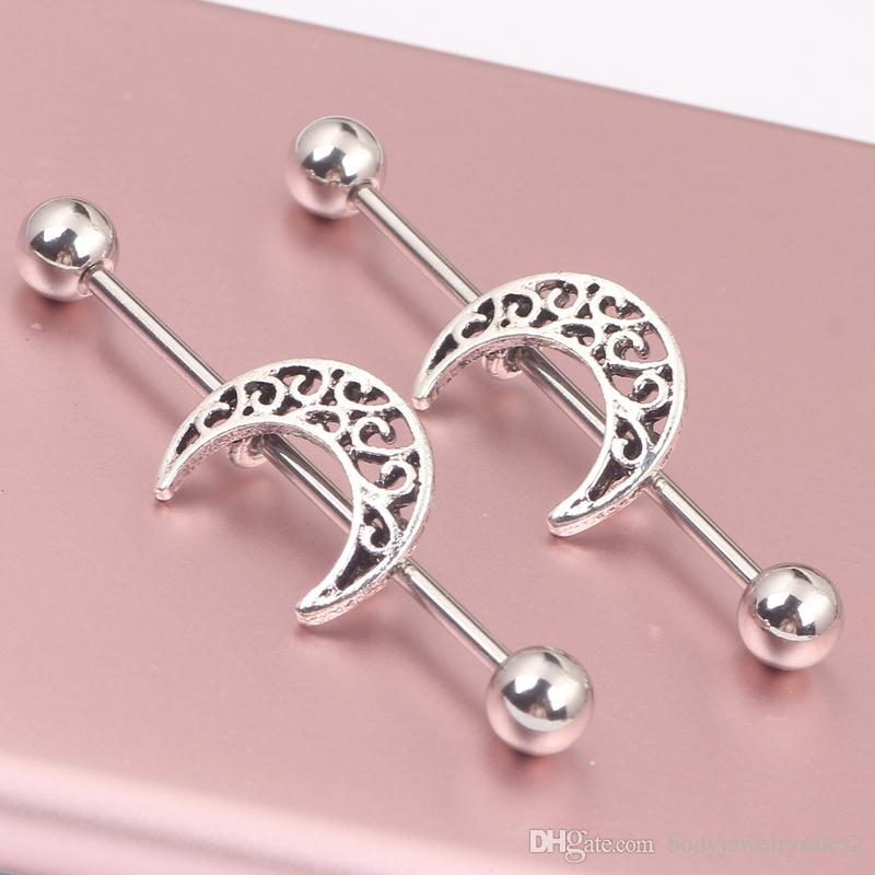 Silver industrial barbell piercing Moon Star earring jewelry Wholesales ear Piercing tragus Bar Helix Ear Plug Stretcher