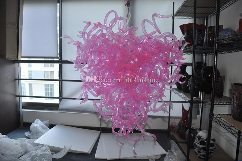 Italienische Vintage Kronleuchter Lichter rosa farbigen niedlichen 100% mundgeblasenem Glas Kinderzimmer moderne Pendelleuchte