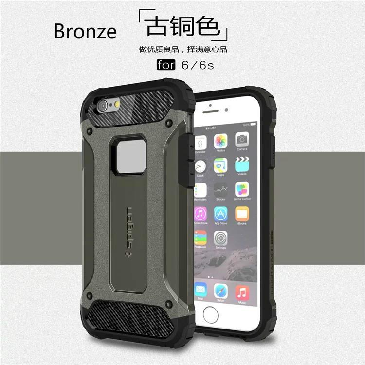 For iPhone 5 5s 6 6s 6s plus Armor cover Hybrid Superior Hard PC With Pliable Rubber Drop Defender Case