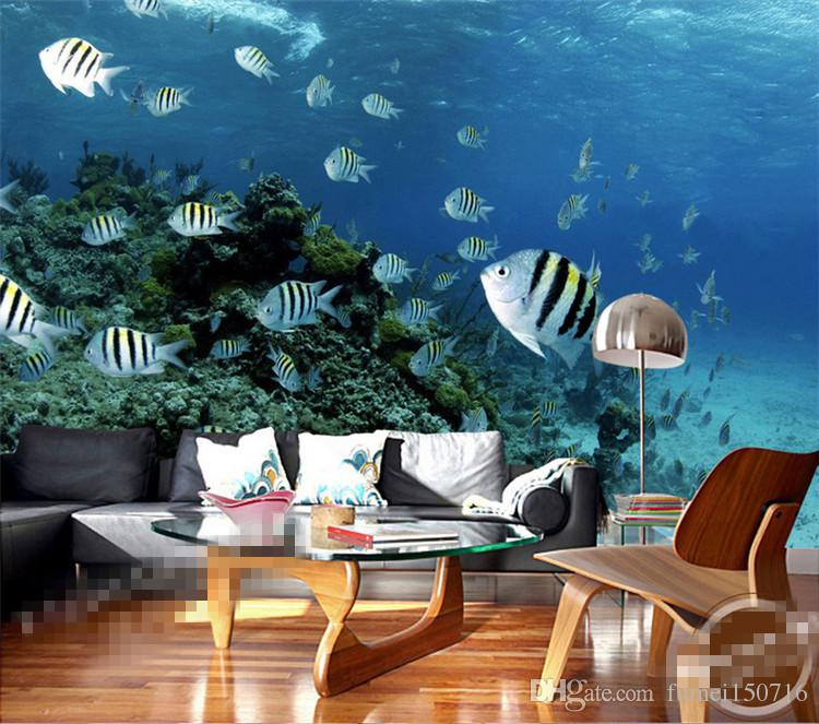 Large Fishes Sea 3d Wall Mural Wallpaper for Baby Kids Room Background 3d Photo Mural 3d Wall Cartoon Mural Fresco