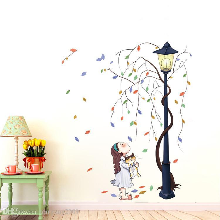 Kreative Charakter Wandaufkleber Wohnzimmer Schlafzimmer Durchgang Schlafsaal Eingangsbereich Dekor Aufkleber Mädchen Mit Auto Unter Lichter Unter Dem Baum