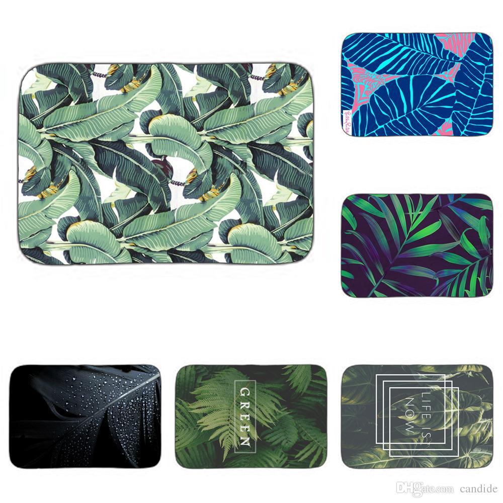 Compre Folhas Verdes Tropicais Com Ditados Art Mat Banheiro Cozinha  -> Tapete Sala Estar