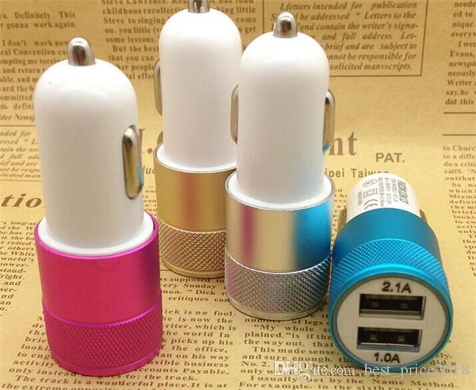 미니 알루미늄 소재 듀얼 2 포트 유니버설 USB 차 충전기 케이블 어댑터 아이폰 ipad 2 3 4 5 6 삼성 갤럭시 S4