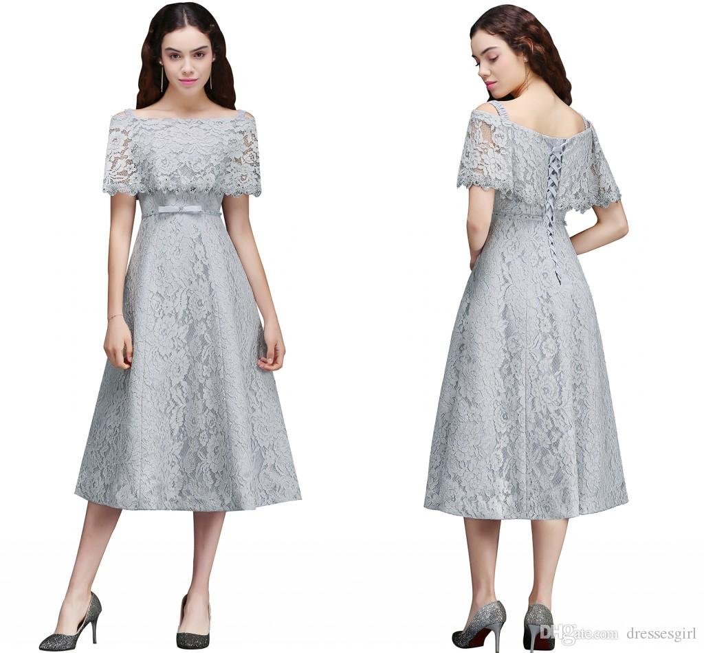 Pretty Silver Full Lace Junior Bridesmaid Dresses Tea Length A Line ...