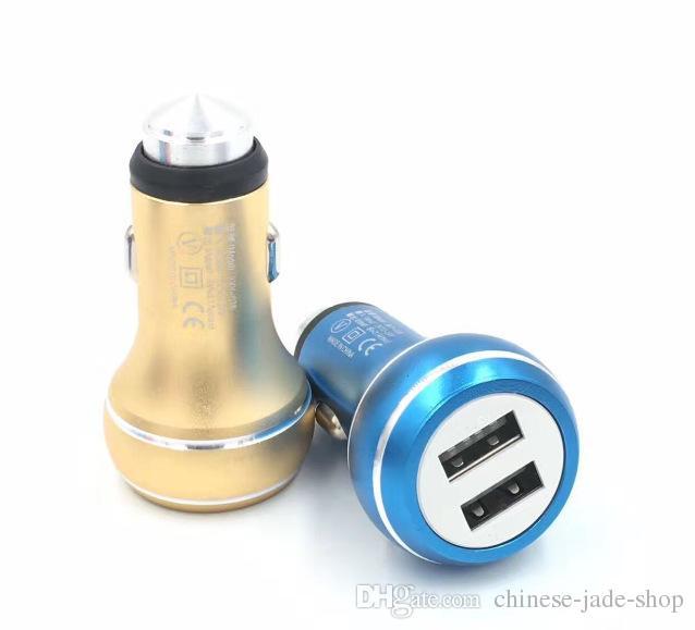 ゴールド安全ハンマーアルミ合金の実数2.4aデュアルポートUSB車の充電器普遍的なスマートフォンのIC保護100ピース/ロット