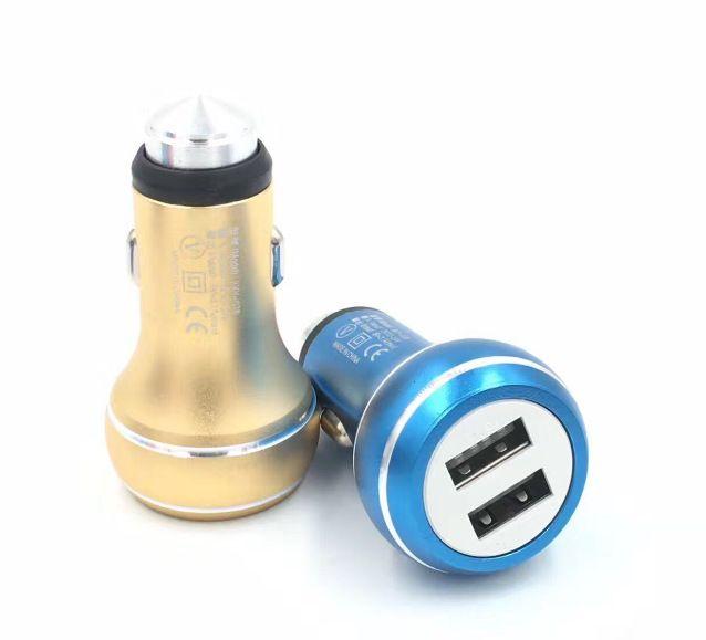 Gourd Safety Hammer Aluminium Alloy Real 2.4a Dual Port USB Billaddare Universal för Smart Phone IC Skydd /