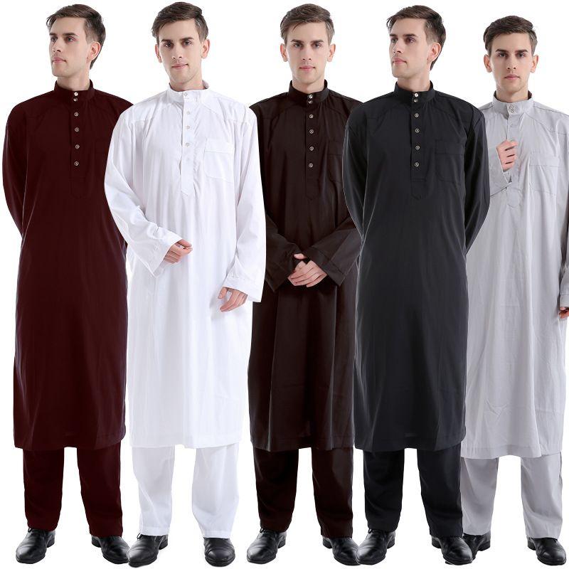 dd8870cbe320 Acquista Nuovo 2017 Uomini Musulmani Manica Lunga Thobe Con Pant Islamico  Due Pezzi Abbigliamento Saudita Araba Saudita Abbigliamento Kaftan Maschile  Thobe ...