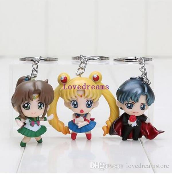 5cm Cartoon Sailor Moon figure Tuxedo Mask phone keyring keychain pendant PVC action Figure toy
