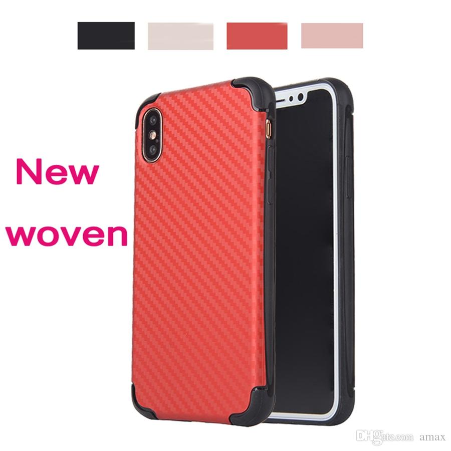 For Iphone 8 Shockproof Case Anti Drop Woven Style Back Cover I8 I7 I6s Plus Red Black Cross Grain Wave Gift New Design Western Cell Phone Cases