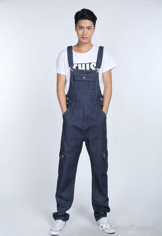 Fashion Casual Mens Denim Overalls Jumpsuit New Male Stylish Jeans Jumpsuits Bib Pants For Men