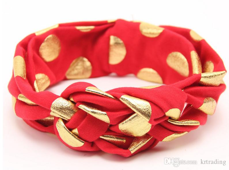 New arrive infants solid color head wear Baby gilding dot Headband multicolors hair Accessories Cross knot hair band 0-4T 40pt