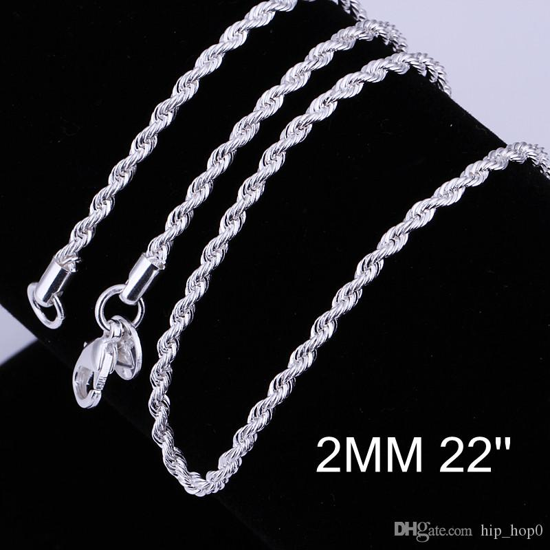 Beautiful 925 Silver Necklaces 2mm 16 18 20 22 24 inch Flash Twisted Rope Chain Necklace Classic Silver Plated Jewelry DIY Jewelry Making