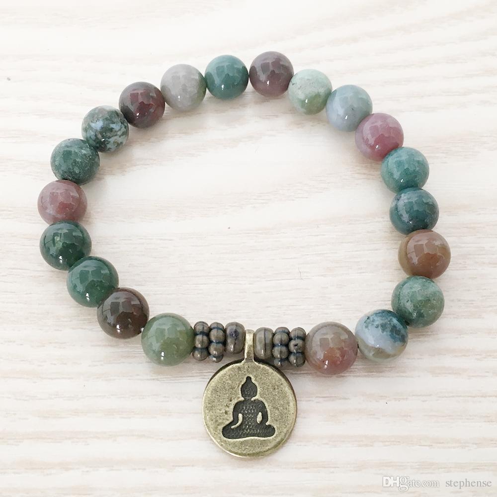 SN1110 Nuevo Diseño Hombres Pulsera India Ágata Ohm Lotus Buddha Charm Pulsera Mala Yoga Joyería Regalo al por mayor para él