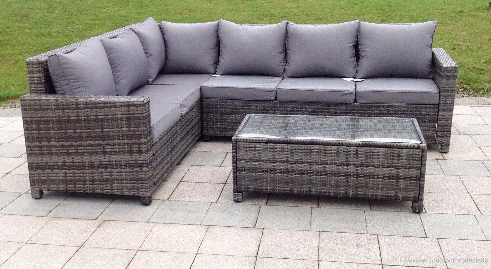 2019 Outdoor Rattan Weave Corner Lounge Sofa Set Rattan Weave Garden