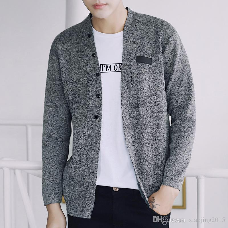 Sweater Mens Winter 2017 Long Sleeve Gray Knitted Cardigan ...